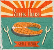 Fish steak retro poster Royalty Free Stock Photos