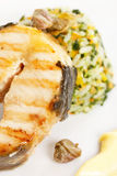 Fish steak with rice Royalty Free Stock Photo