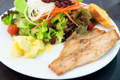 Fish steak with salad Royalty Free Stock Images