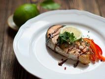 Fish steak salmon Stock Photo
