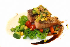 Fish steak with sauce Royalty Free Stock Photos