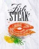 Fish steak watercolor Royalty Free Stock Images