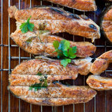 Fish steaks. Salmon steaks grilled and decorated with parsley Royalty Free Stock Photography