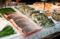 Fish steaks on market display Royalty Free Stock Photo