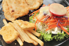 Fish steaks and vegetable salad with french fries. Stock Images