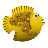 Fish Steampunk style. Goldfish with cogs and gears in steampunk style  over white background Royalty Free Stock Photos
