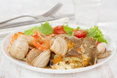 Fish stew with salad Royalty Free Stock Image