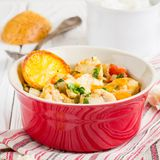 Fish stew with vegetables and rice, delicious healthy dinner stock photography