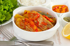 Fish stew in the white bowl Stock Images