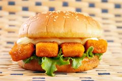 Fish stick burger Stock Photo