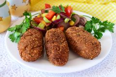 Fish sticks in breadcrumbs coating, deep fried royalty free stock photo