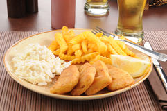 Fish sticks with coleslaw Stock Photography