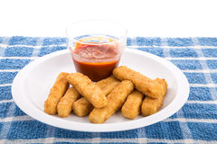 Fish Sticks on Plate with Cocktail Sauce Royalty Free Stock Photography