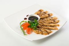 Fish sticks and souce Stock Images