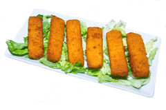 Fish sticks on tray seen from above Royalty Free Stock Images