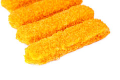 Fish sticks on a white Royalty Free Stock Photography