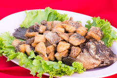 Fish. Stir-fried fish with vegetables Stock Photography