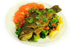 Fish with stir fry Stock Images