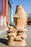 Fish stone carving. Ancient works of artn Royalty Free Stock Photo