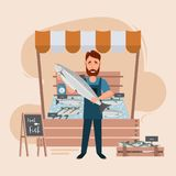 Fish store market and freshness seafood in fridge. Man seller cartoon character. vector illustration Stock Images