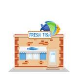 Fish street shop. Fresh fish cartoon with cartoon signboard - vector illustration Royalty Free Stock Photography