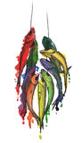 Fish on the string. Colorful fish hanging on a rope. illustration Stock Photo