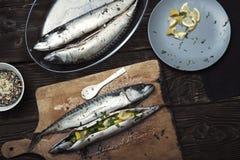 Fish food preparation Stock Photography