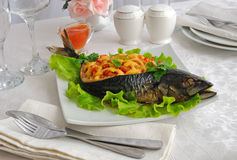 The fish , stuffed with vegetables Royalty Free Stock Image
