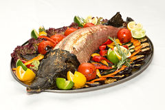 Fish sturgeon on the grill royalty free stock images
