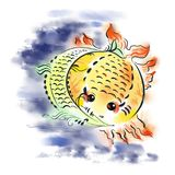 Fish-sun and fish-moon. Against the background of blue clouds Stock Photos