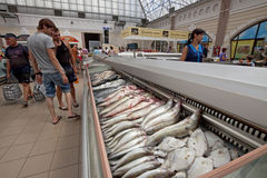 Fish supermarket in Odessa city. Ukraine Royalty Free Stock Photo