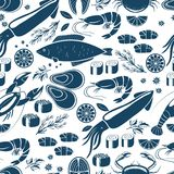 Fish  sushi and seafood seamless background Stock Photography