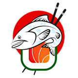 Fish and sushi vector. Fish and sushi on a red background vector Stock Images