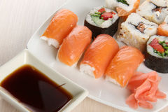 Fish sushi on wood plate Royalty Free Stock Photography