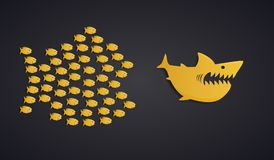 Teamwork Concept - Fish Swarm Formation stock illustration