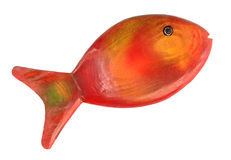 Fish is swimming. Colorful wooden fish isolated on white stock images