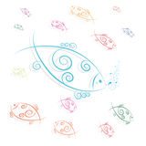 Fish swimming and blowing bubbles. Vector Royalty Free Stock Images