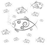 Fish swimming and blowing bubbles. Vector image Stock Image