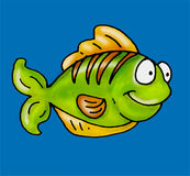 A fish swimming. Humorous mascots buttons for the web Stock Image