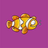 A fish swimming. Humorous mascots buttons for the web Stock Photo