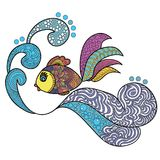 Fish swimming over the waves. Doodles art. Printing on T-shirts, banners, posters, cover. Coloring page book for adults and children Royalty Free Stock Photo