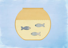Fish swimming in painted fishbowl Royalty Free Stock Photography