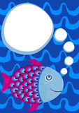 Fish Swimming Party Invitation Card. Invitation card with a fish swimming and a thought bubble to write message Royalty Free Stock Image