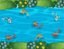 Fish swimming in a stream. Illustration royalty free illustration