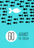 Fish swims against the stream. blue flat poster. Royalty Free Stock Image
