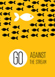 Fish swims against the stream. Creative yellow flat poster. Stock Photos