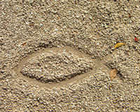 Fish symbol in drawn in the sand Royalty Free Stock Photos