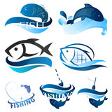 Fish symbol set Royalty Free Stock Photos