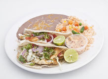 Fish Tacos. A plate of delicious fish tacos royalty free stock images