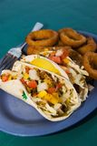Fish Tacos and Fried Onion Rings Royalty Free Stock Image